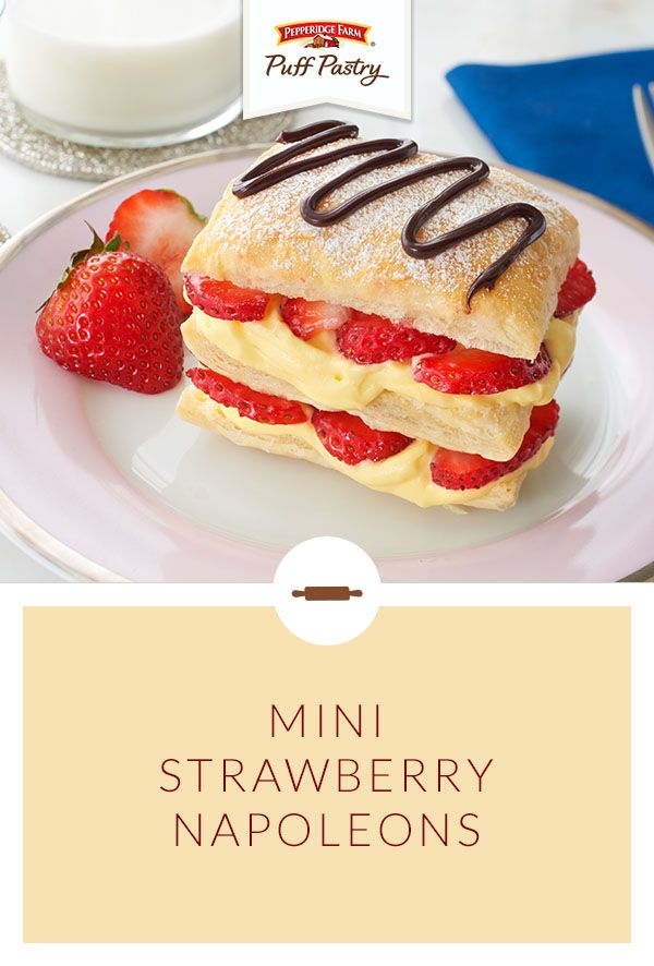 Pepperidge Farm Puff Pastry Mini Strawberry Napoleons Recipe. Celebrate the unofficial start of summer with a Memorial Day dessert stacked with luscious strawberries. Make this bakery classic easily at home with Puff Pastry, vanilla pudding, fresh strawberries and lots of whipped cream!