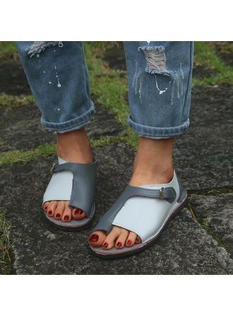 VERYVOGA Grau Frauen Sandalen Flache Schuhe Peep Toe Flascher Absatz PU Zweiteil