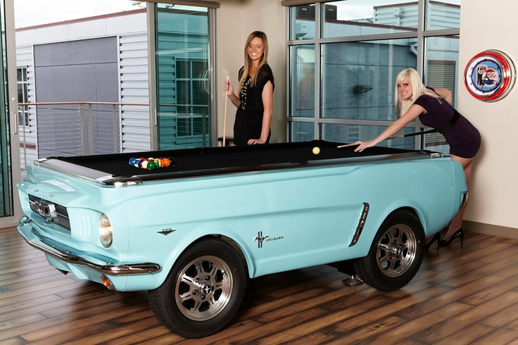 Baby Blue Mustang Pool Table. at www.CarPoolTables.com | Car Pool ...