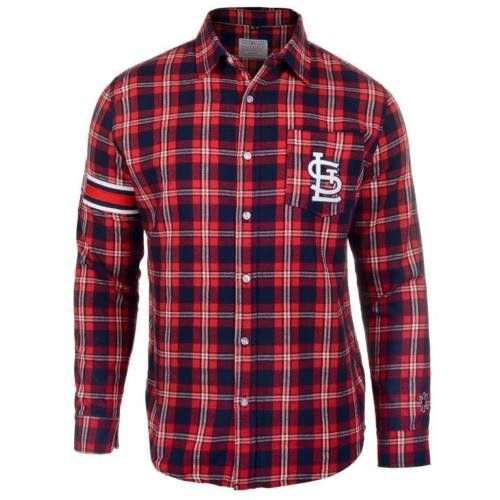 #StLouis #Cardinals Wordmark #Long#Sleeve Flannel #Shirt by Klew
