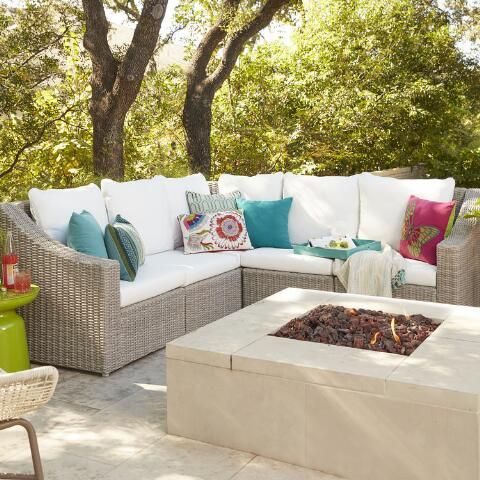 This outdoor sectional from World Market is fantastic! I like the white/gray combo, but I also like the navy slipcovers sold separately. Decisions decisions...