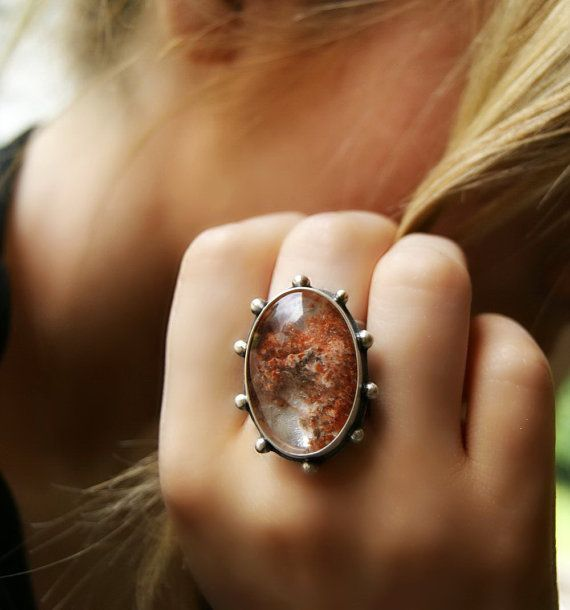 Crystal Pond Lodolite Sterling Silver Ring by MercuryOrchid