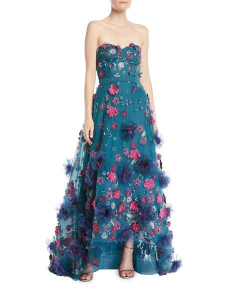 a3ebddb3aa Marchesa Strapless Ball Gown w/ 3D Petals | Gorgeous Dresses/Gowns ...