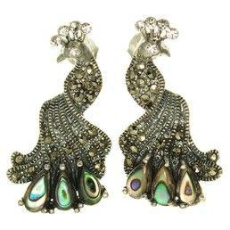 Cercei vintage model paun - bijuterii din argint cu marcasite, abalone si cristale. http://www.argintarie.ro/Cercei-din-argint-cu-marcasite-si-abalone-p-17091-c-252-p.html