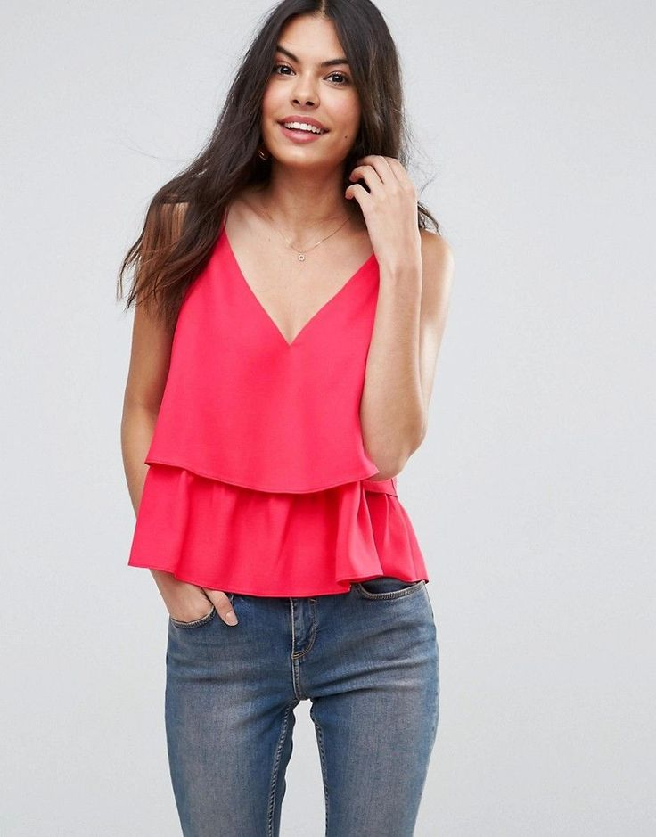 ASOS Double Layer Cami with Strap Detail - Pink