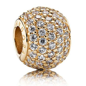 CHARM 14CT YELLOW GOLD ROUND PAVE CUBIC ZIRCONIA - Jons Family Jewellers