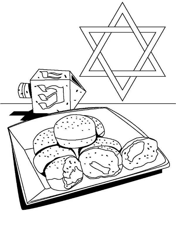 Chanukah Dreidel And Cookkosher Of Chanukah Coloring Page