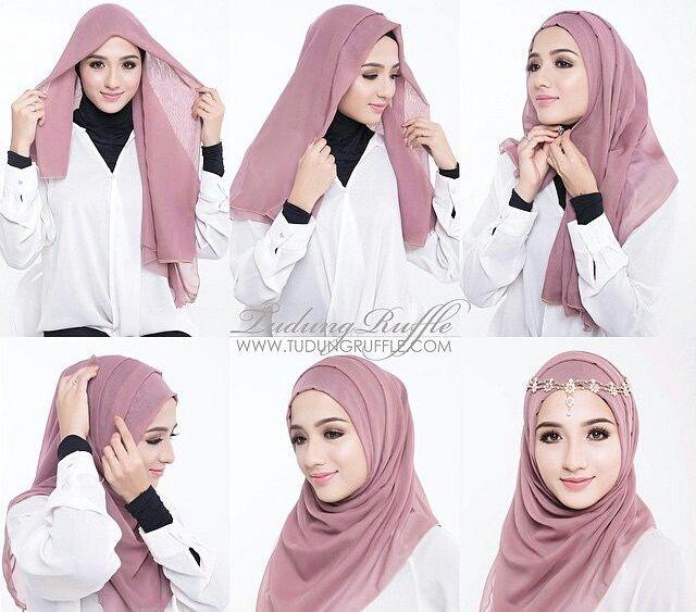 Beautiful Simple Jeweled Hijab Tutorial