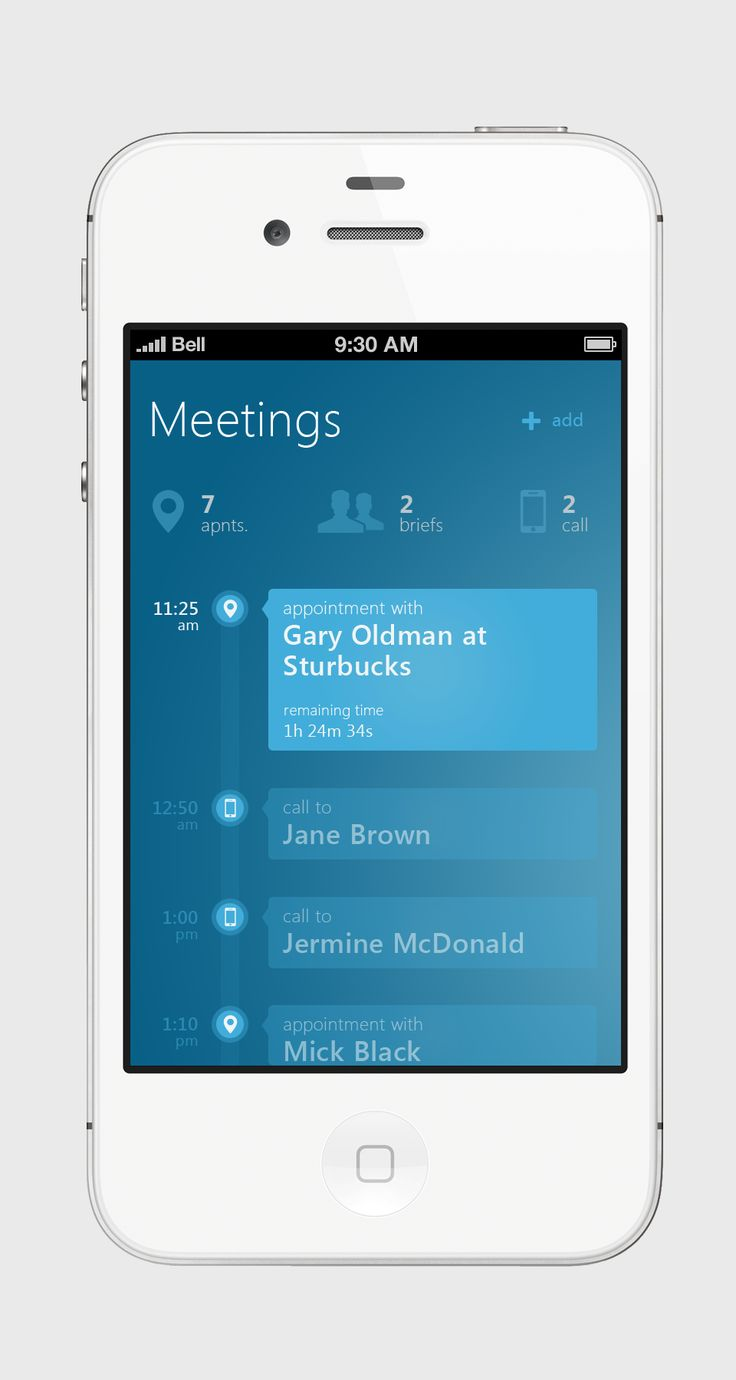 Meetings Metro UI for iPhone