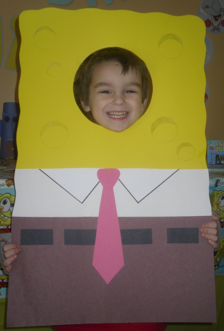 Spongebob Party Photo Prop. Made out of poster board. Hmmm i should make thise too along with patrick and Gary :)