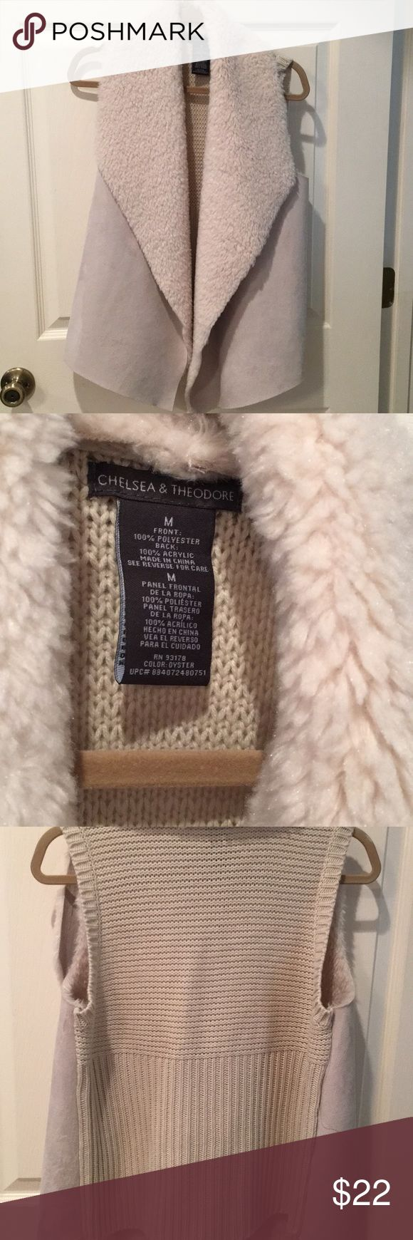 Chelsea & Theodore Cream Vest Size medium, faux fur and suede look front with sweater back, so adorable will fit a large . Worn one time . Smoke/pet free home. Thank you for shopping my closet !! Chelsea & theodore Jackets & Coats Vests