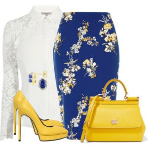 Fashion Style Combination - Floral Blue Skirt, with yellow handbag and pumps, and a white blouse with blue accents to match.