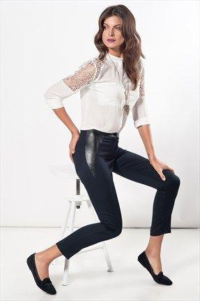 Milla by Trendyol  - Deri Detaylı Siyah Pantolon MLWAW141092 %40 indirimle 59,99TL ile Trendyol da