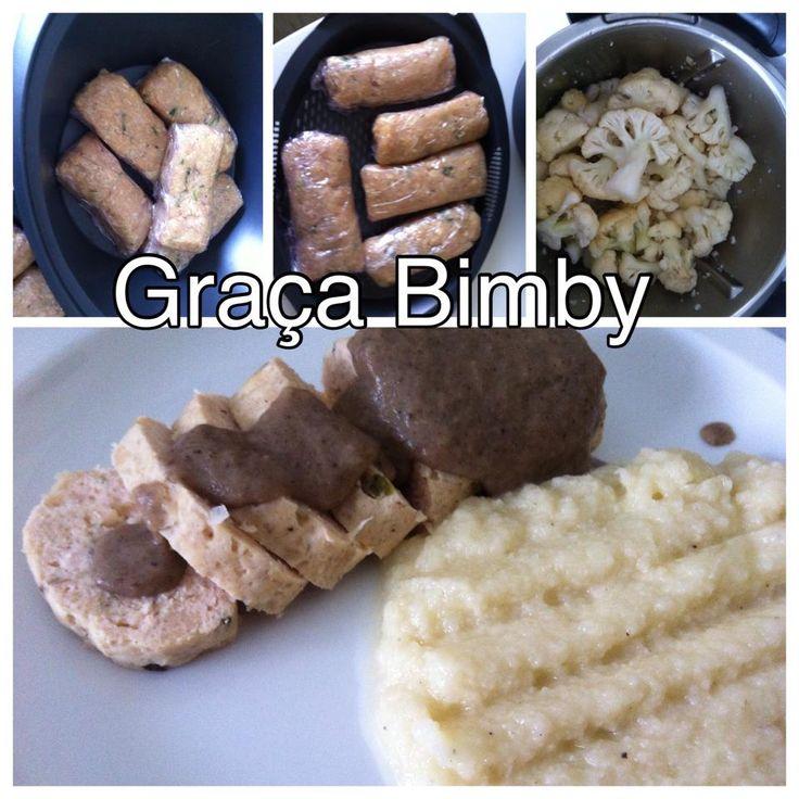Bimby Truques & Dicas: Mini rolos de frango com molho de cogumelos e puré de couve flor