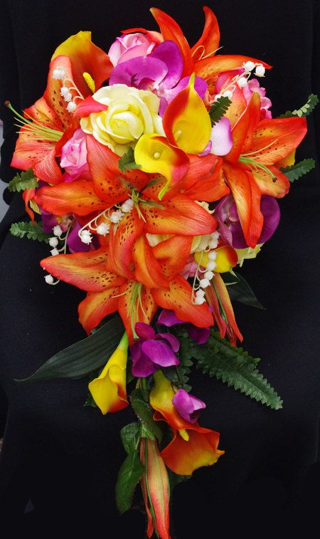 Wedding Tropical Orange Yellow and Fuchsia Natural Touch Silk Flower Bride Bouquet on Etsy, $180.00