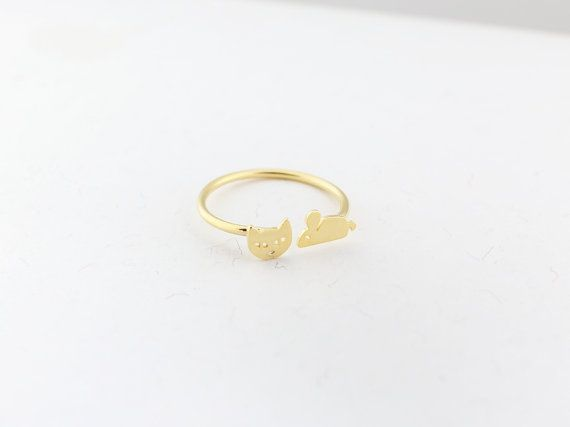 Gold/silver cat and mouse ringcat ringkitten  ringmouse by MYLB