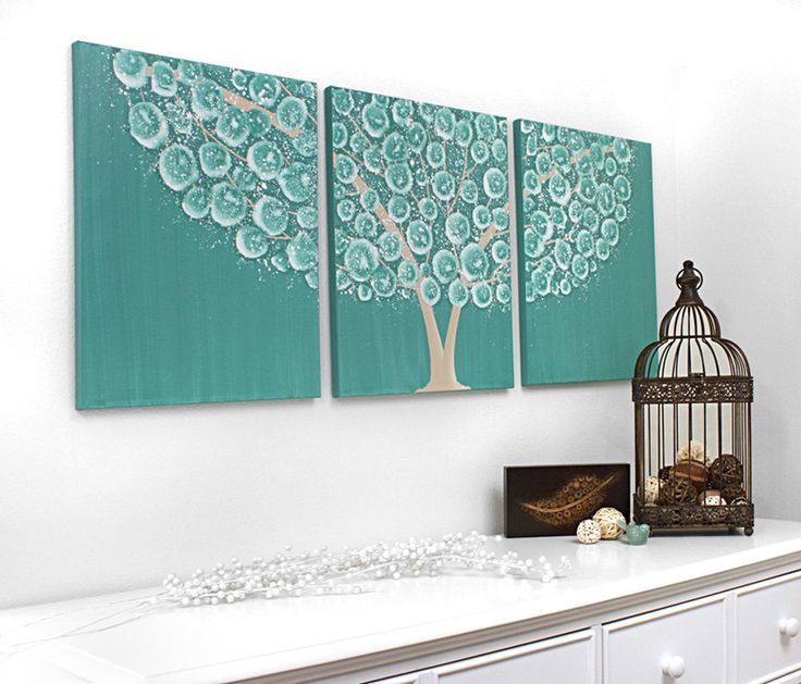 Large Flowering Tree Painting on Triptych Canvas - Original Textured Art 50X20 - Brown and Teal Home Decor  via Etsy.