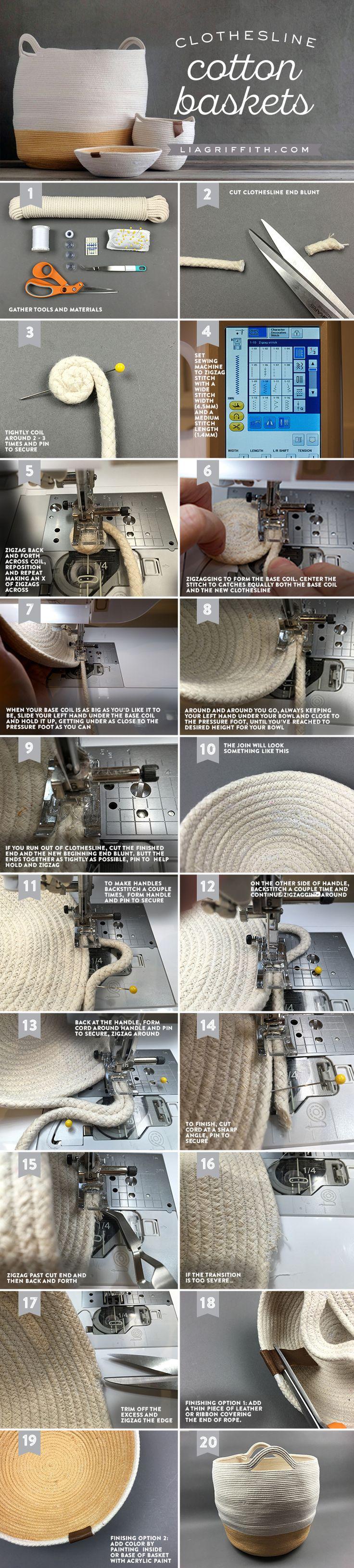 DIY Cotton Clothesline Baskets - Lia Griffith