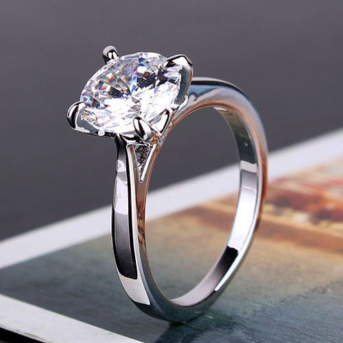 2.0CT Perfect Round Diamond Cut Russian Lab Diamond 18K White Gold Engagement Ring Size 6, 7, or 8