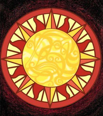 Mandala - Sol Desenho pintado a mão e vetorizado