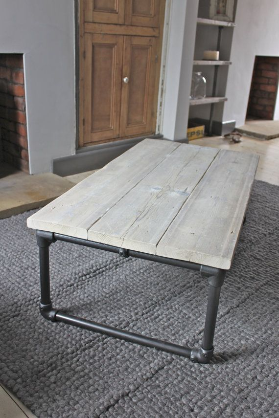 $781.50 Reclaimed Scaffolding Boards Coffee Table with Dark Steel Pipe Legs, 1200mm wide x 450mm tall x 660mm deep