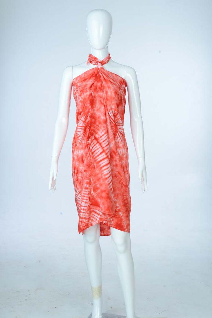 Sure Design Clothing Style - Womens Scarf-Tye Dye Scarf- Orange - Thai Style
