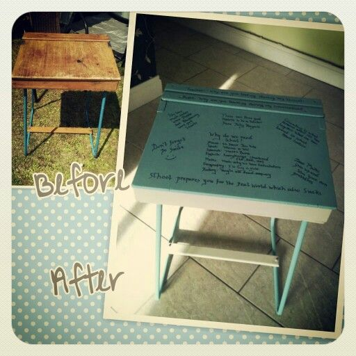 Customer transformation - school desk painted in autentico (contains chalk) paint. Painted in autentico antique turquoise. #autenticopaint #autentico #chalkpaint #upcycle #earthpaint #homedecor