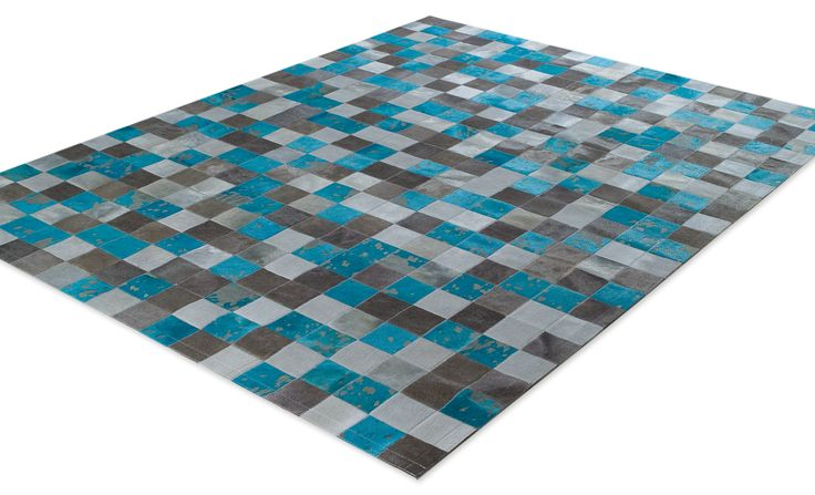 SKIN RUG (10) MULTY GREY/TURQUOISE acid / Custom made Cow Skin Rugs / Products :: Tapicap.com