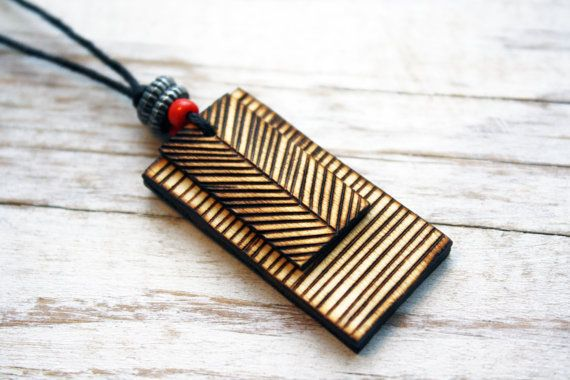 Wood Burned Necklace - Geometric lines, natural, Earthy. Nice simple design, very eye-catching. You could do matching ear rings & wrist band as well ;)