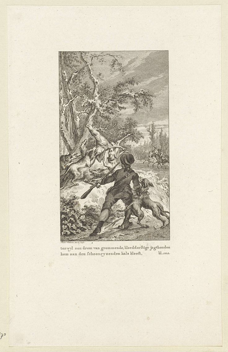 Reinier Vinkeles | Honden jagen een hert op en vallen het aan, Reinier Vinkeles, 1751 - 1816 |
