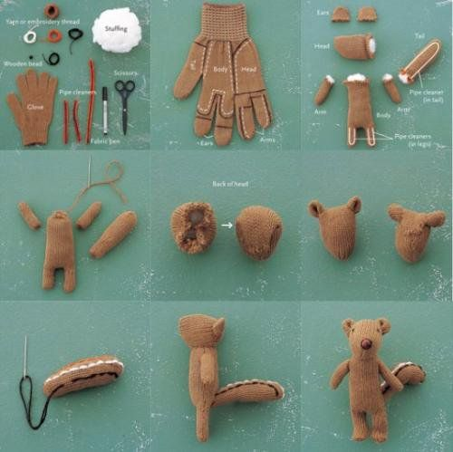 From Glove to Squirrel: Dogs Toys, Recycled Gloves, Bears, Cute Idea, Glovesquirrel, Chipmunks, Crafts Idea, Stuffed Animal, Gloves Squirrels