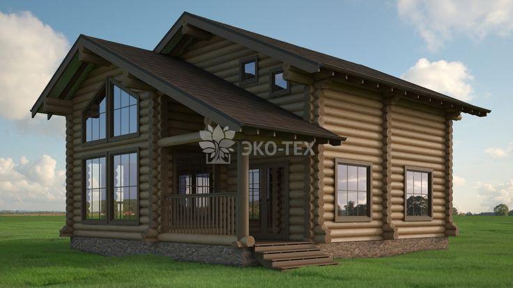 """Эко-Тех: проект деревянного дома 155 м2 """"Италика"""" из оцилиндрованного или рубленного бревна"""