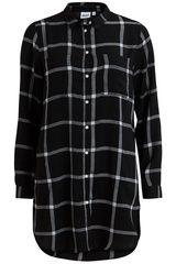 Object - lange geruite blouse #fashion #fall16 #winter17 #black #blackestblack #blackisthenewblack