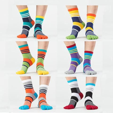 Breathable, Spandex, Funky Colorful Toe Socks Pack of Six (6)
