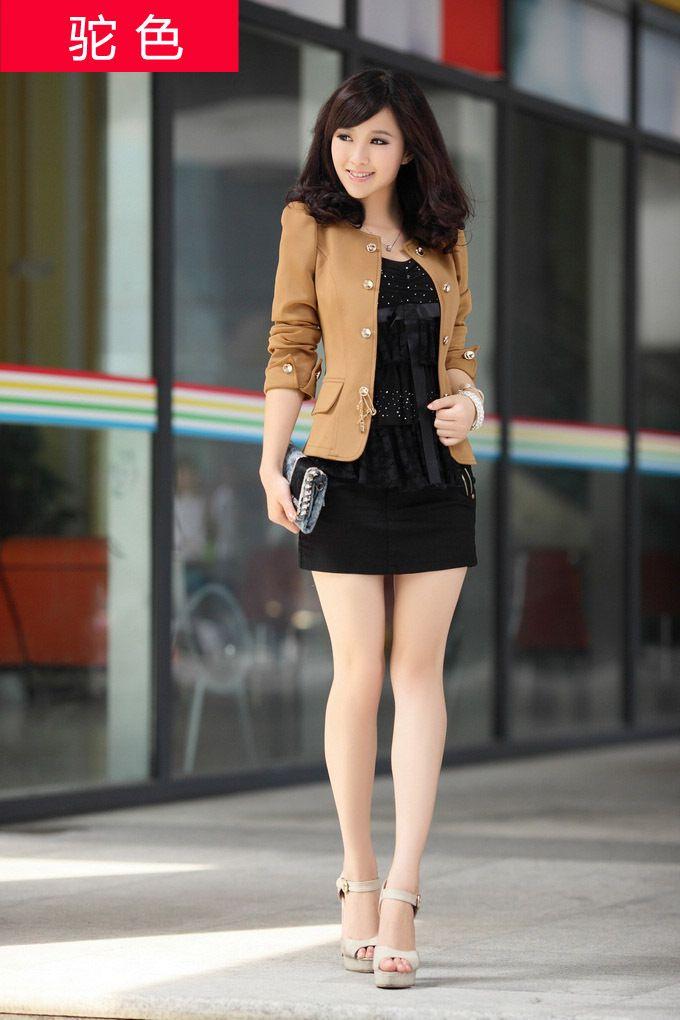 Blazer otoño del resorte 's otoño prendas de vestir exteriores corta chaqueta de las mujeres de moda.  Talla: M,L,XL