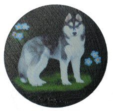 Siberian Husky Coaster On Natural Welsh Slate