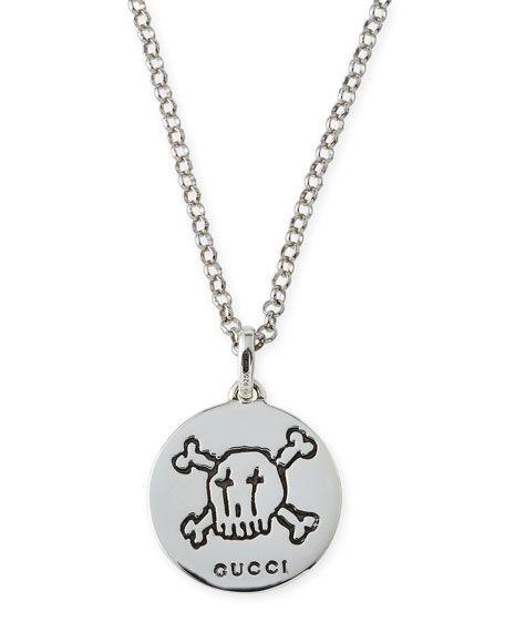 506c08eb5f9  gucci  . GUCCI Guccighost Men S Sterling Silver Pendant Necklace ...