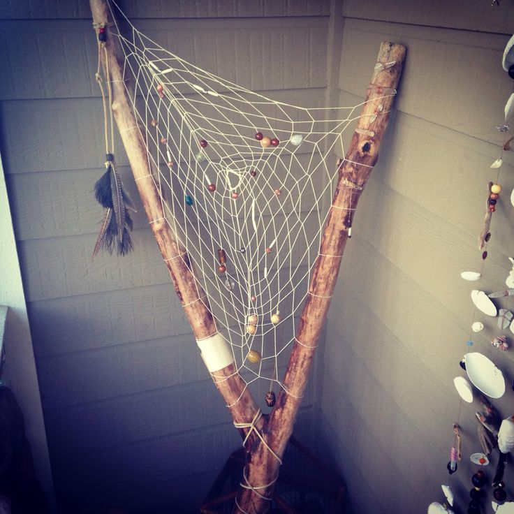 My #giantdreamcatcher #arbutus #driftwood #dreamcatcher is done! Makin #bigdreams happen! ❤️❤️ #dreams #bohemian #beads #beach #porch #victoriabc #naturalcrystals #crystal #healing