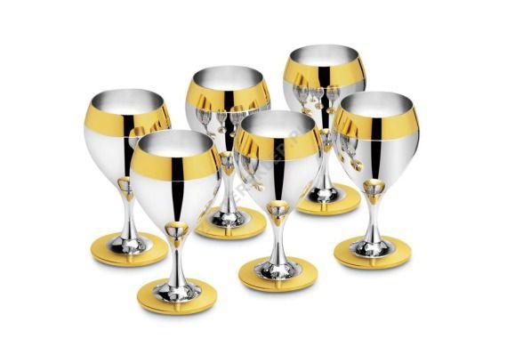 Serwis do wina dla 6osób -powlekany srebr. i dekor. złotem