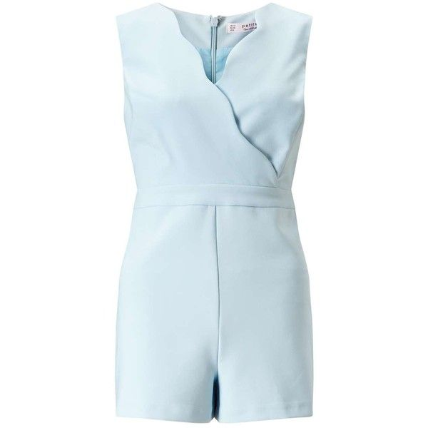 Miss Selfridge Petites Blue Scallop Playsuit ($40) ❤ liked on Polyvore featuring jumpsuits, rompers, pale blue, petite, sleeveless romper, miss selfridge, playsuit romper, sleeveless rompers and blue rompers