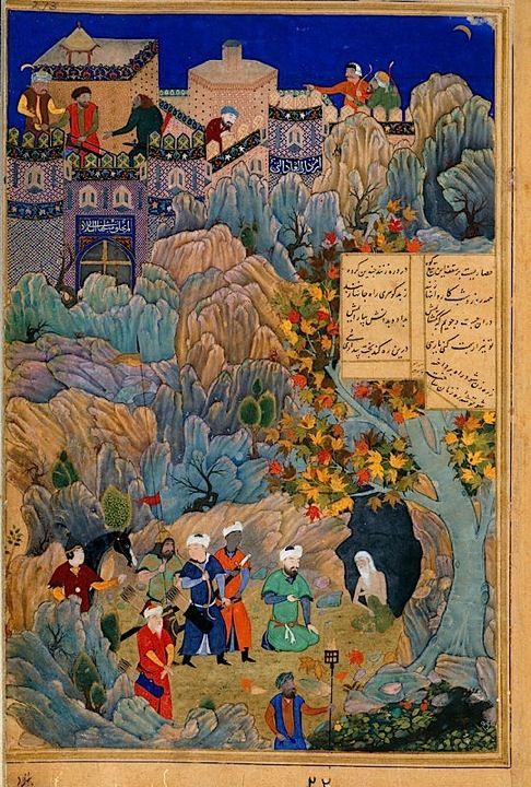 Iskandar visits the wise man in the cave ascribed to Bihzad.