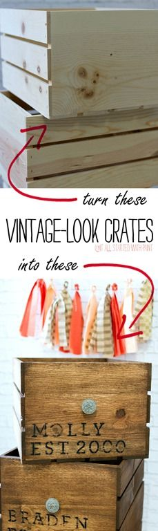 How to make new crates look vintage with stain and paint and stencils and sandpaper