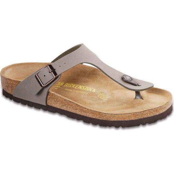 Birkenstock Women's Gizeh Stone Birkibuc Thongs & Flip-Flops ($95) ❤ liked on Polyvore featuring shoes, sandals, flip flops, grey, grey shoes, thong sandals, gray sandals, arch support shoes and stone sandals