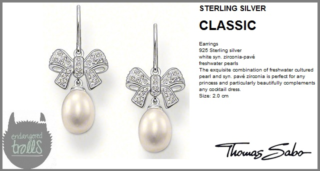 Thomas Sabo - Fall 2012 - Classic Collection - Pavé Bow Drop Earrings (Pearl)