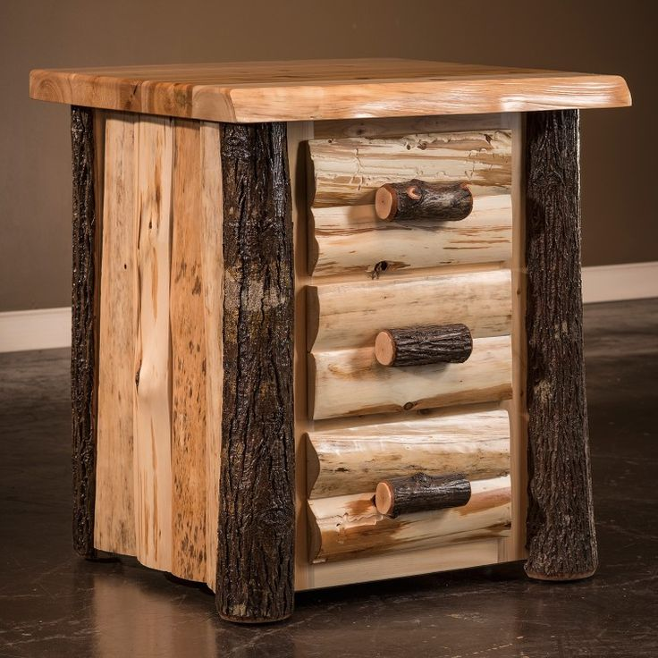 Hickory Logger 3 Drawer Log Nightstand Rustic Log