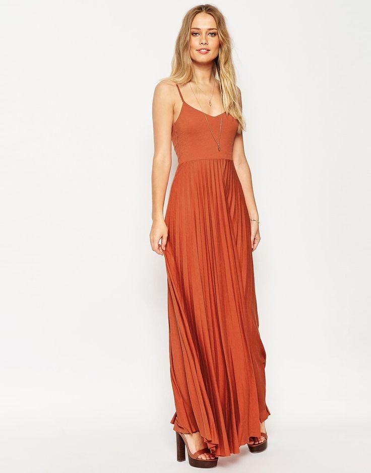 ASOS Pleated Cami Maxi Dress - Terracotta / Burnt Orange colour. Sleeveless beach dress.