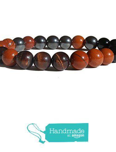 "ZENstore Root Chakra Healing Bracelet Natural Gemstones size 0.3"" 8mm Red Jasper Red Tiger Eye Hematite Black Tourmaline - certified Grounding Protection Strength from ZENstore https://www.amazon.com/dp/B071WCH78W/ref=hnd_sw_r_pi_dp_Z-qozbNAMTFMC #handmadeatamazon  #Zenstore #chakra #gemstone #jewellery #fashion"