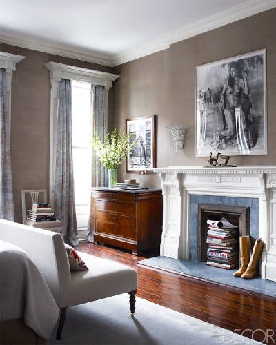 The master bedroom features drawings, from left, by Graham Nickson and Sangram Majumdar.