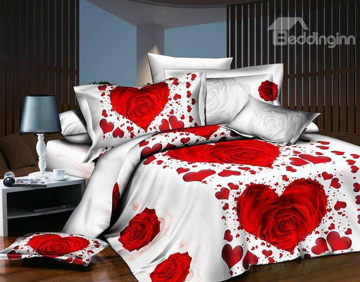 Heart Shaped Rose Print 4-Piece Polyester Duvet Cover Sets