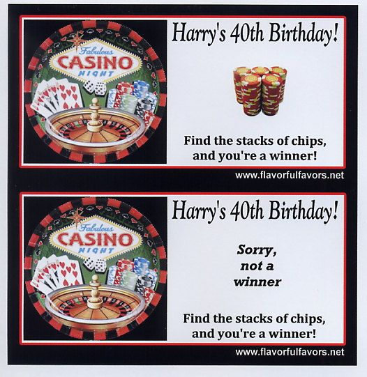 Casino Night party favors scratch off by FlavorfulFavors on Etsy
